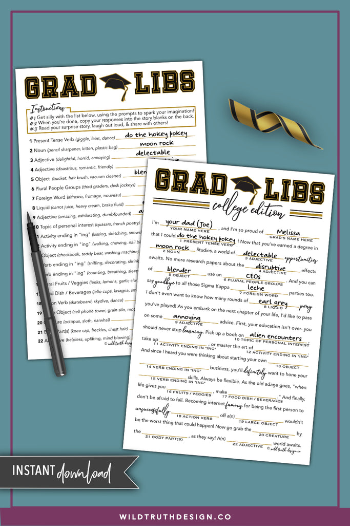 College Graduation Mad Libs - University Grad Libs