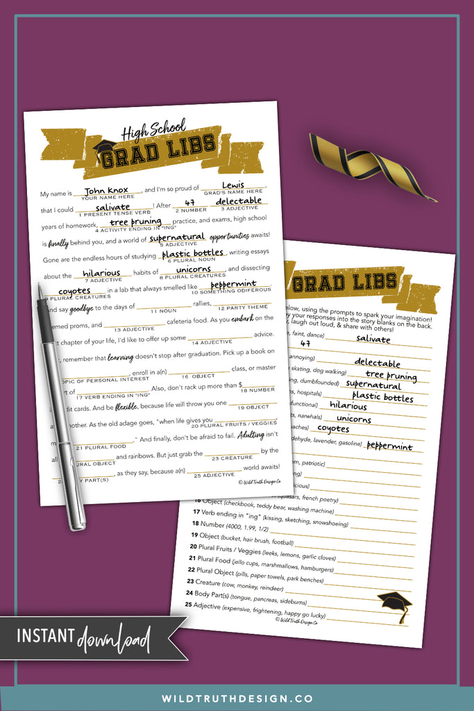 high school graduation mad libs game