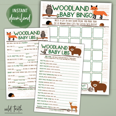 woodland animals baby shower games