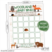 woodland animals baby shower bingo card