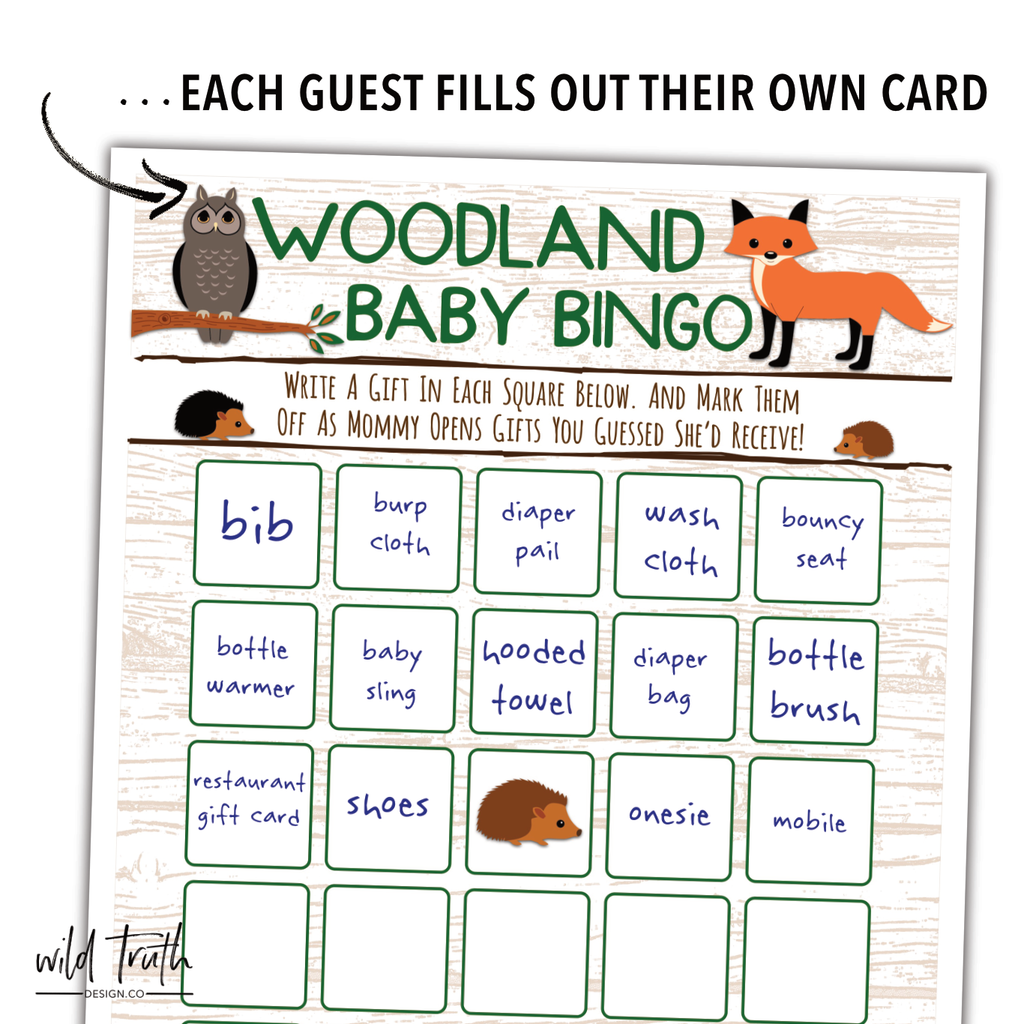 photograph regarding Animal Bingo Printable referred to as Woodland Pets Little one Shower Game titles - Outrageous Lib Bingo Card [Printable Obtain]