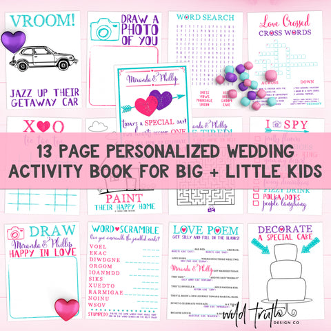 Printable Kids Wedding Activity Book | Sizzle Cone Designs