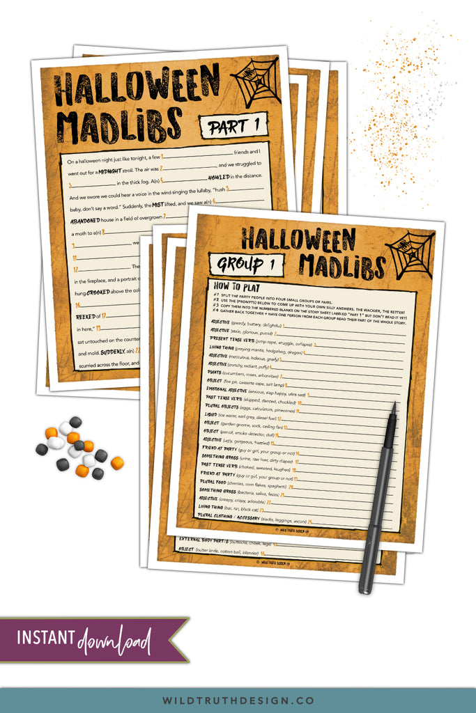 graphic regarding Printable Adult Games named Printable Halloween Crazy Libs Occasion Recreation For Grownups Young people [#H100] - Wild Truth of the matter Layout Co