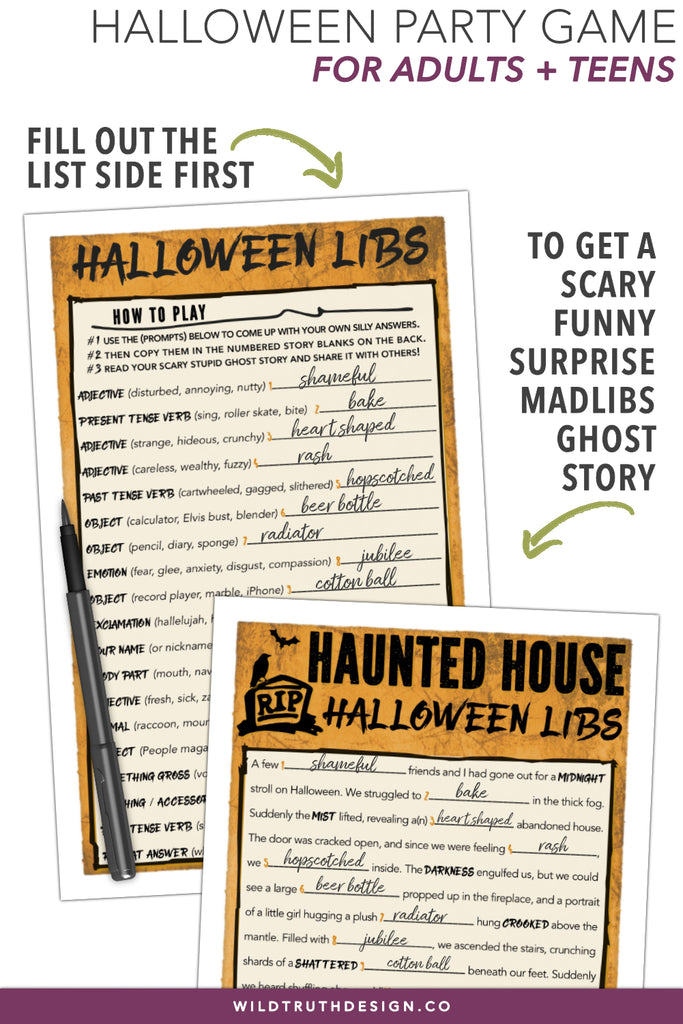 graphic relating to Funny Mad Libs for Adults Printable called Hilarious Halloween Insane Libs Recreation - Grownups Adolescents - Haunted Dwelling Tale - Printable [#H109] - Wild Real truth Design and style Co