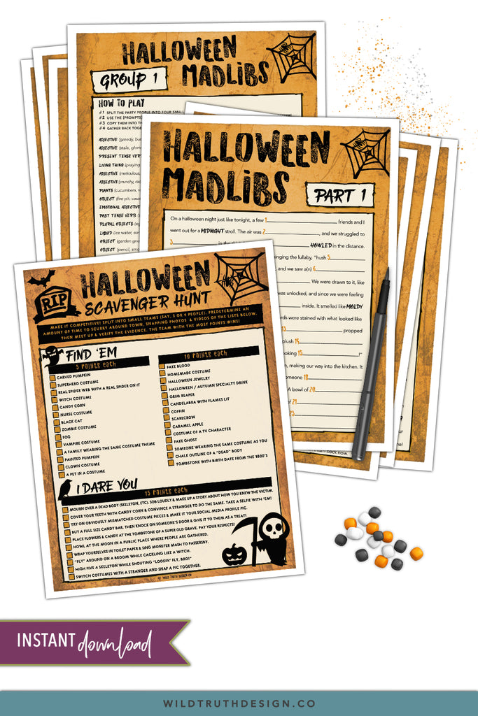 image regarding Halloween Games Printable titled Foolish Halloween Online games For Older people Young people - Ridiculous Libs, Scavenger Hunt - Printables [#H101] - Wild Reality Style Co