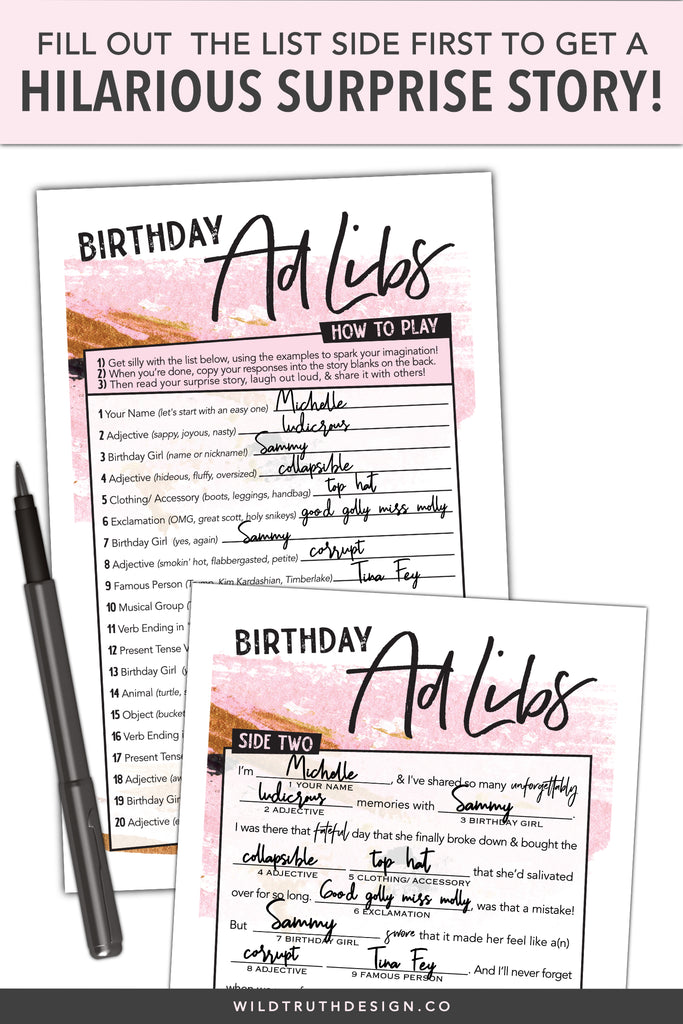 Women's Birthday Mad Libs Party Game #106A - Wild Truth Design Co