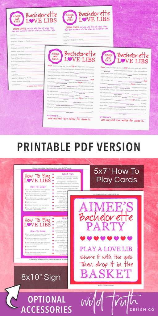 picture regarding Printable Mad Gab Cards named Humorous Bachelorette Outrageous Lib Activity - Honeymoon Assistance Printable #200