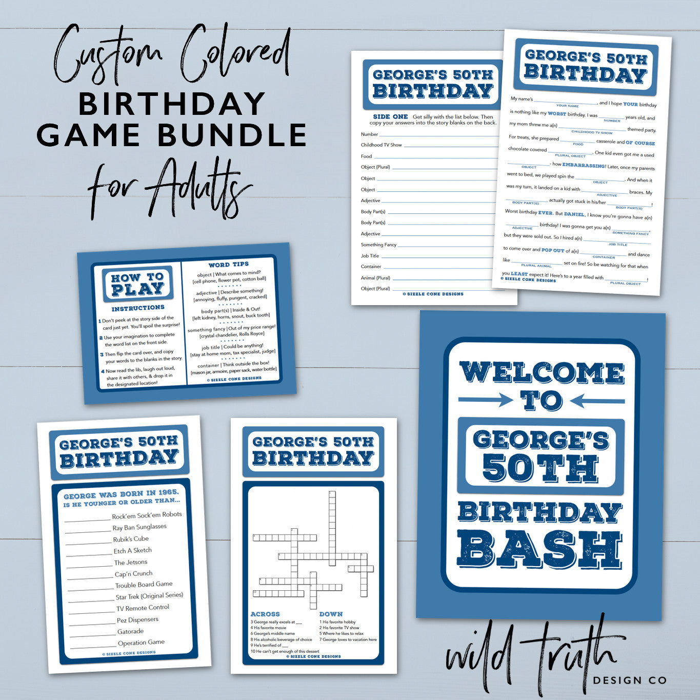Personalized Birthday Party Games For Adults - Crossword, Mad Lib ...