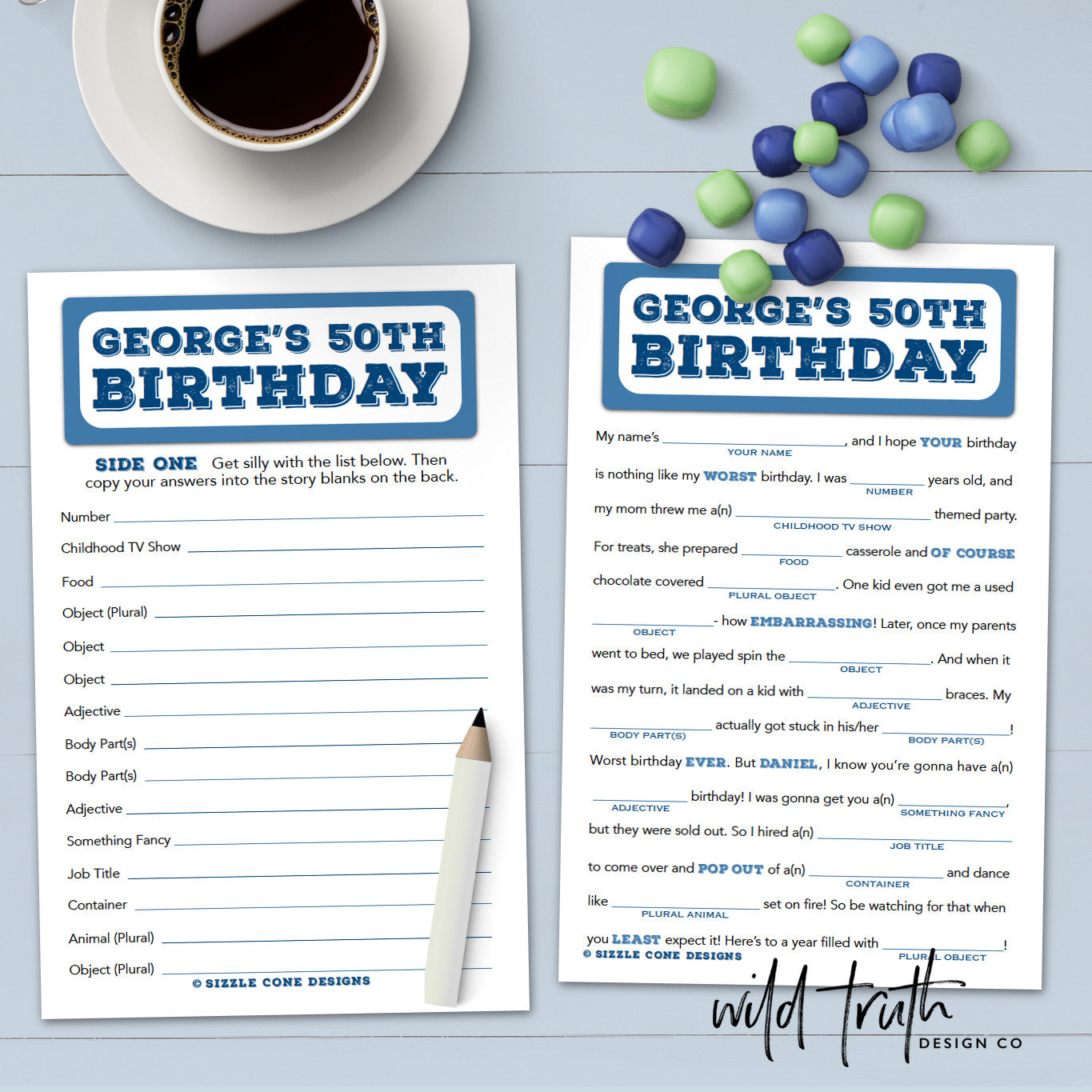 photo relating to Free Printable Mad Libs for Adults called Birthday Outrageous Lib For Grownups - Tailored Social gathering Recreation - Printable #100A - Wild Reality Design and style Co
