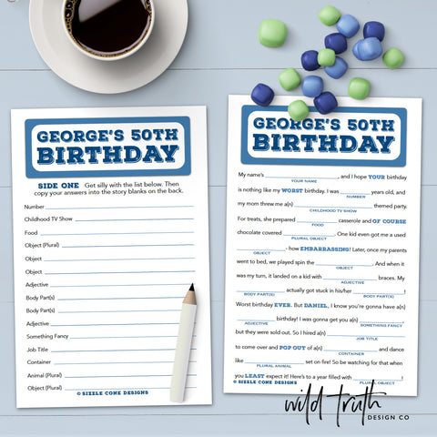 Birthday Party Game For Adults - Madlibs - Sizzle Cone Designs