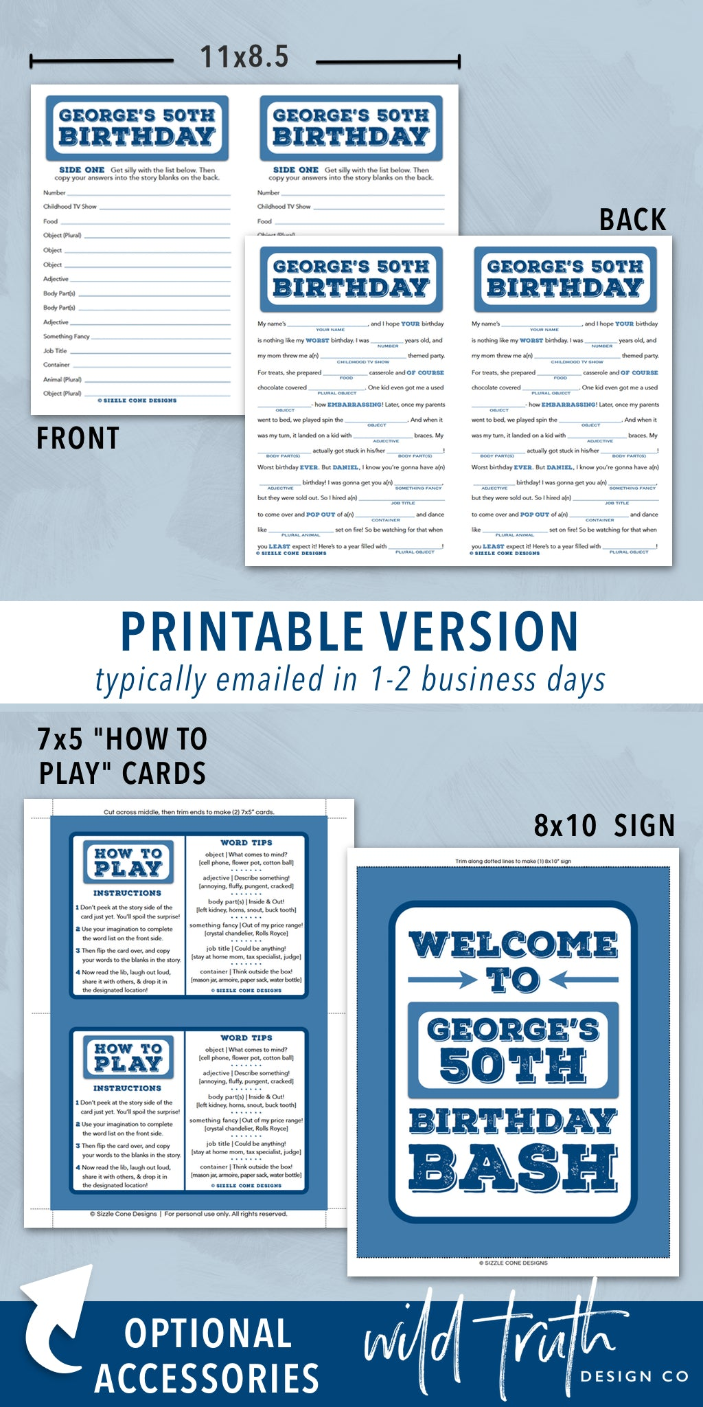 picture regarding Printable Adult Mad Libs known as Birthday Crazy Lib For Grownups - Custom-made Social gathering Match - Printable #100A - Wild Fact Layout Co