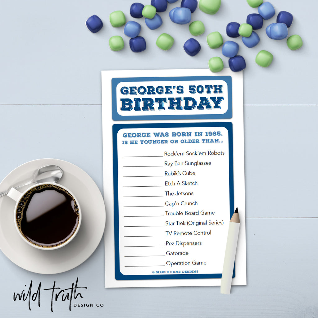 Custom Birthday Game for Adults - Younger Or Older