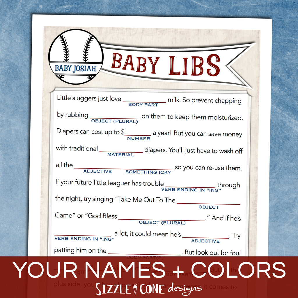 Baby Shower Mad Libs - Vintage Baseball | Sizzle Cone Designs