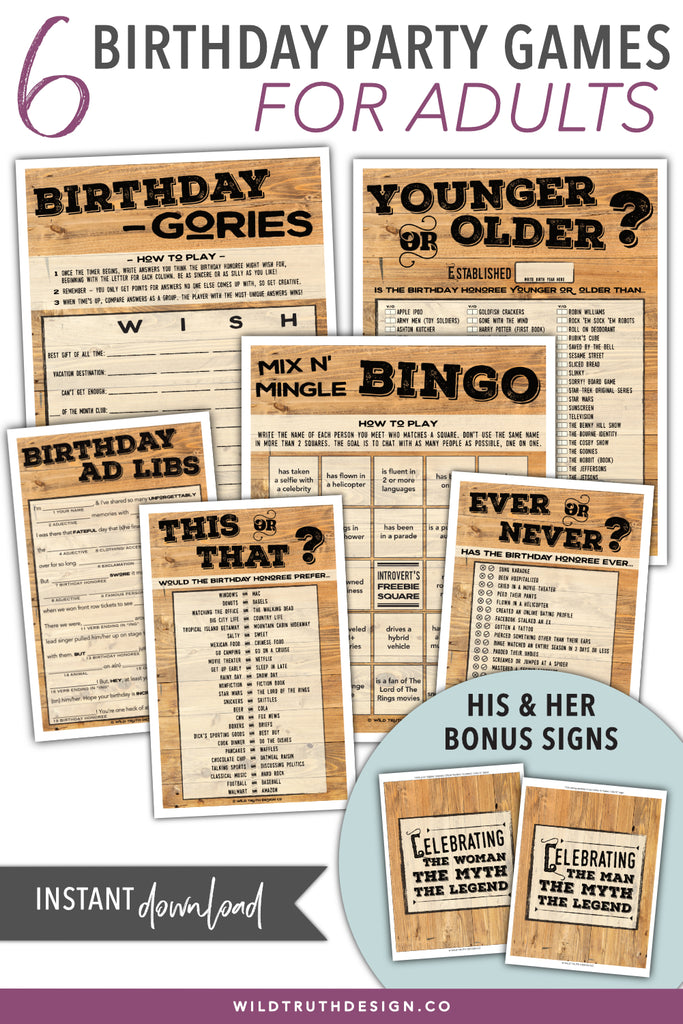graphic about Free Printable Women's Party Games known as Birthday Social gathering Online games For Grownups #103 - Wild Real truth Layout Co