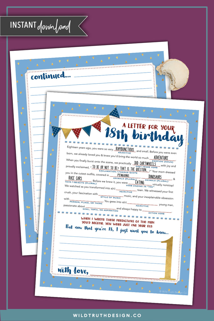 image relating to Birthday Mad Libs Printable named Boys Very first Birthday Nuts Lib Letter - Period Capsule Printable [Down load #TC501] - Wild Reality Style and design Co