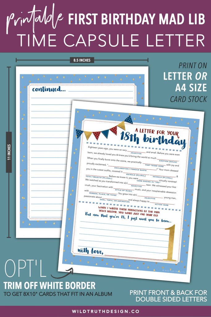 Girls First Birthday Time Capsule Letter - Printable Mad -2598