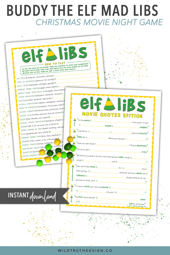 Buddy The Elf Mad Libs Hilarious Christmas Party Game Printable