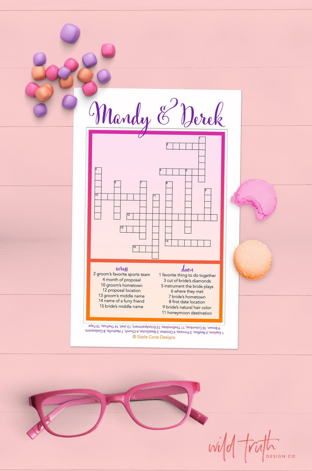 Personalized Wedding Crossword Puzzle