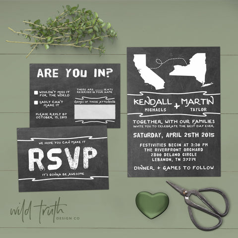 long distance relationship chalkboard wedding invitations
