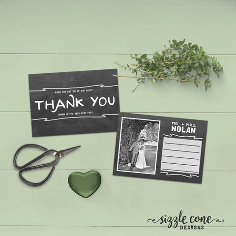Chalkboard Wedding Thank You Photo Card | Sizzle Cone Designs