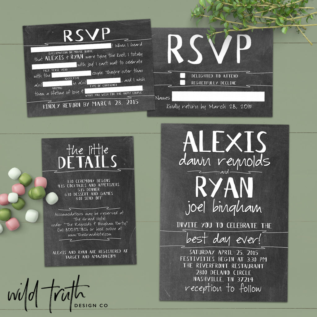 best day ever chalkboard wedding invitation set