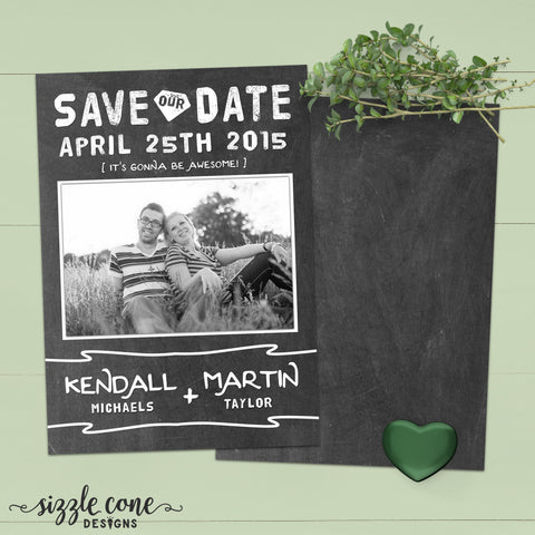 Chalkboard Save The Date Photo Card | Sizzle Cone Designs