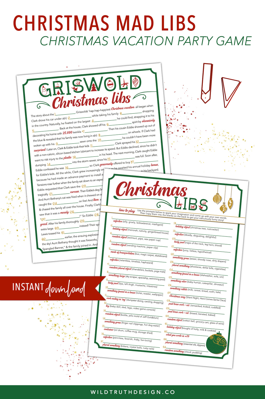 Christmas Mad Libs - Christmas Vacation Party Game