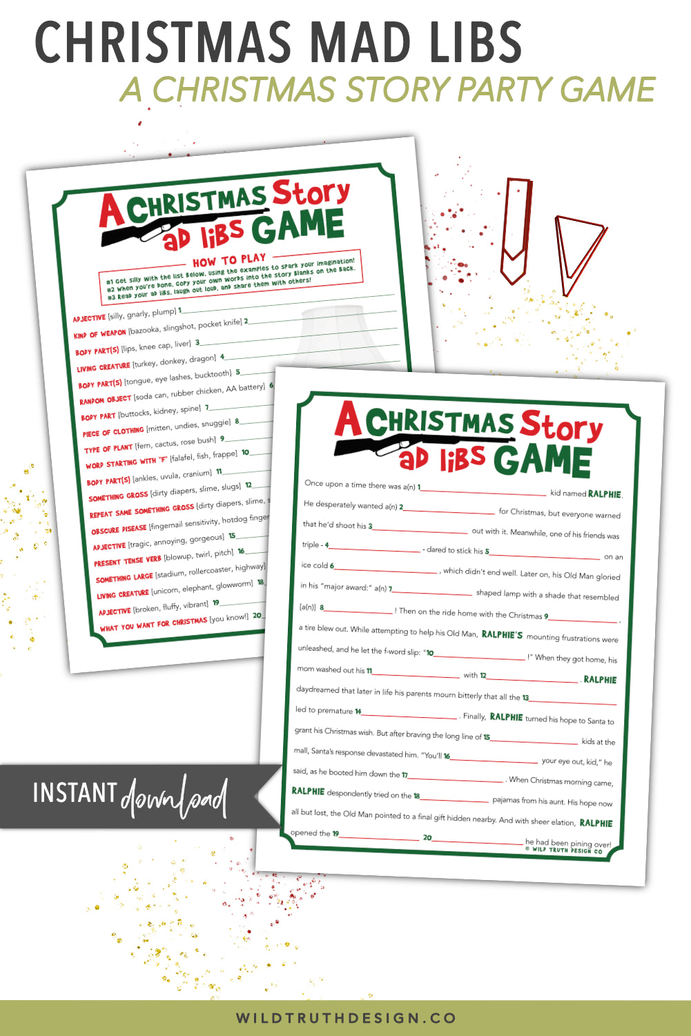 Christmas Mad Libs - A Christmas Story Party Game