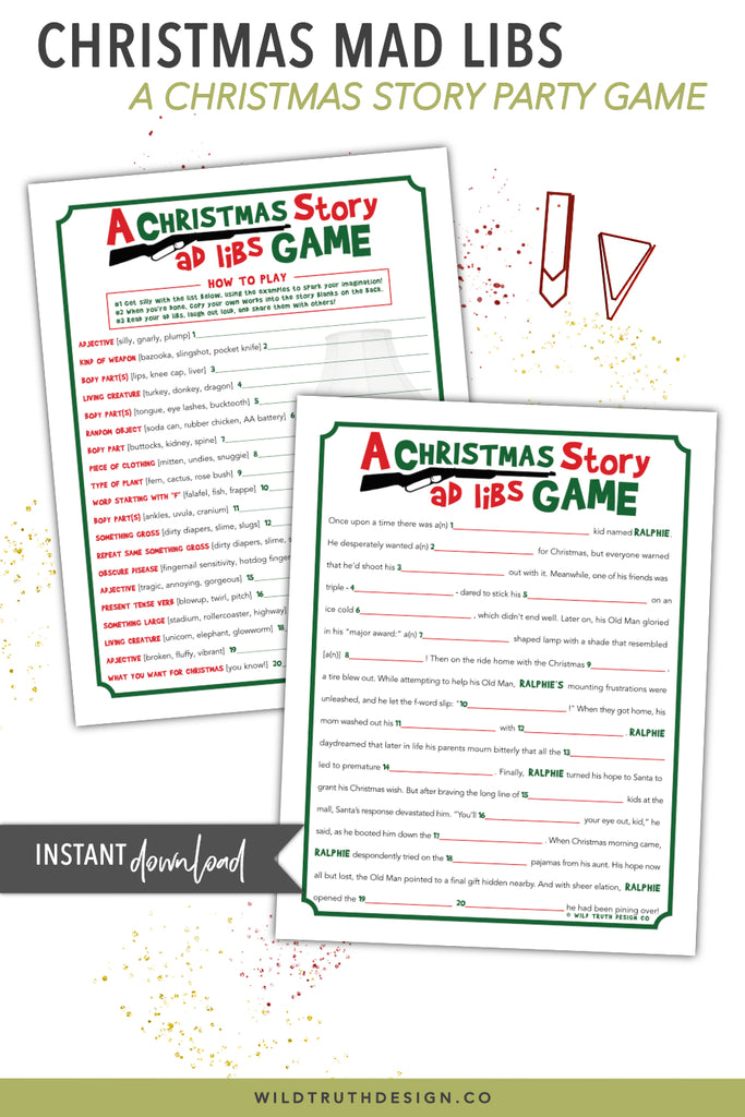 photograph about Printable Mad Libs for Adults Pdf titled A Xmas Tale Online video Social gathering Recreation - Printable Outrageous Libs [#C101] - Wild Real truth Design and style Co