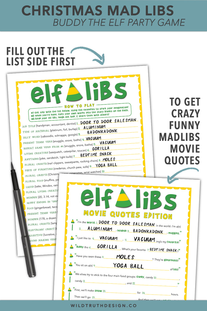 graphic regarding Christmas Mad Libs Printable called Friend The Elf Nuts Libs - Xmas Online video Celebration Activity - Printable [#C100] - Wild Real truth Style and design Co