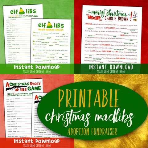 ADOPTION FUNDRAISER - Printable Christmas Madlib Game Bundle [Instant Download!]