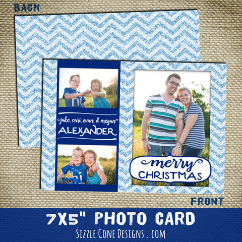 Glitter Chevron Holiday Photo Card - Two Sided | Sizzle Cone Designs