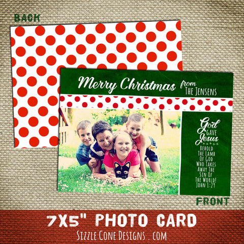 Christian Christmas Photo Card - Polka Dots | Sizzle Cone Designs