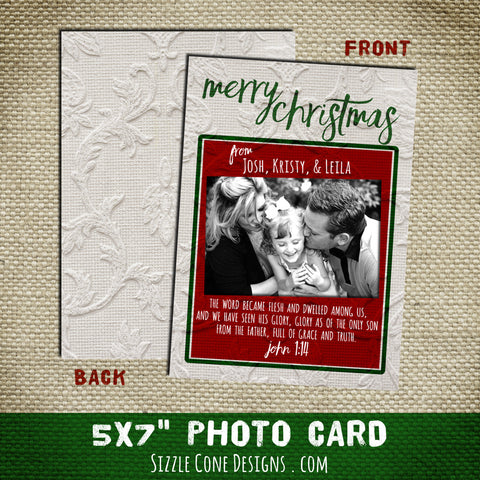 Christian Christmas Photo Card - Damask | Sizzle Cone Designs
