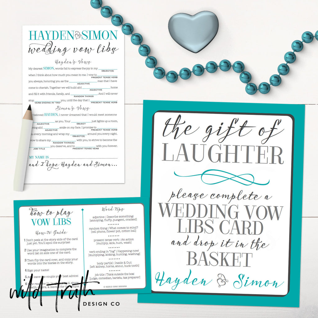 Wedding Vow Mad Libs Printable: Personalized Wedding Vows Madlib Game (Printable Or