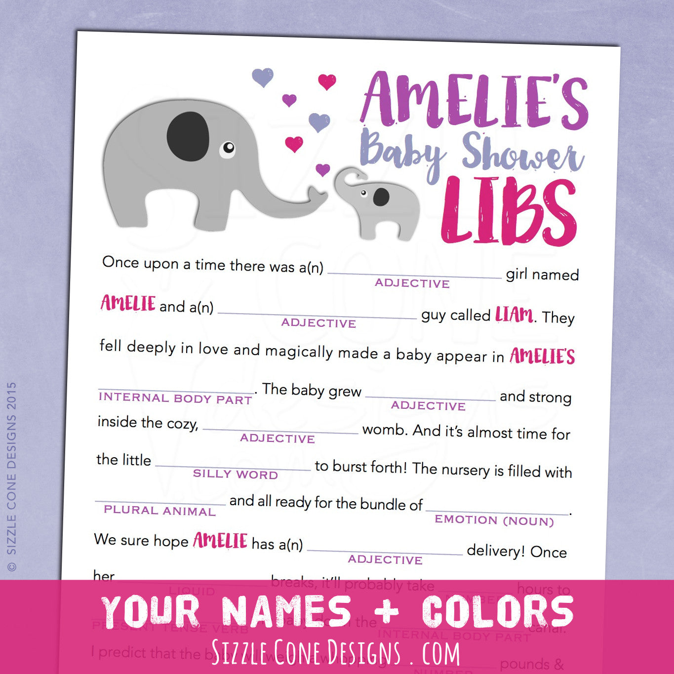 Baby shower mad lib game elephants personalized printable elephant baby shower game madlibs sizzle cone designs pronofoot35fo Image collections
