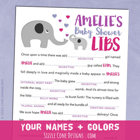 Elephant Baby Shower Game - Madlibs | Sizzle Cone Designs