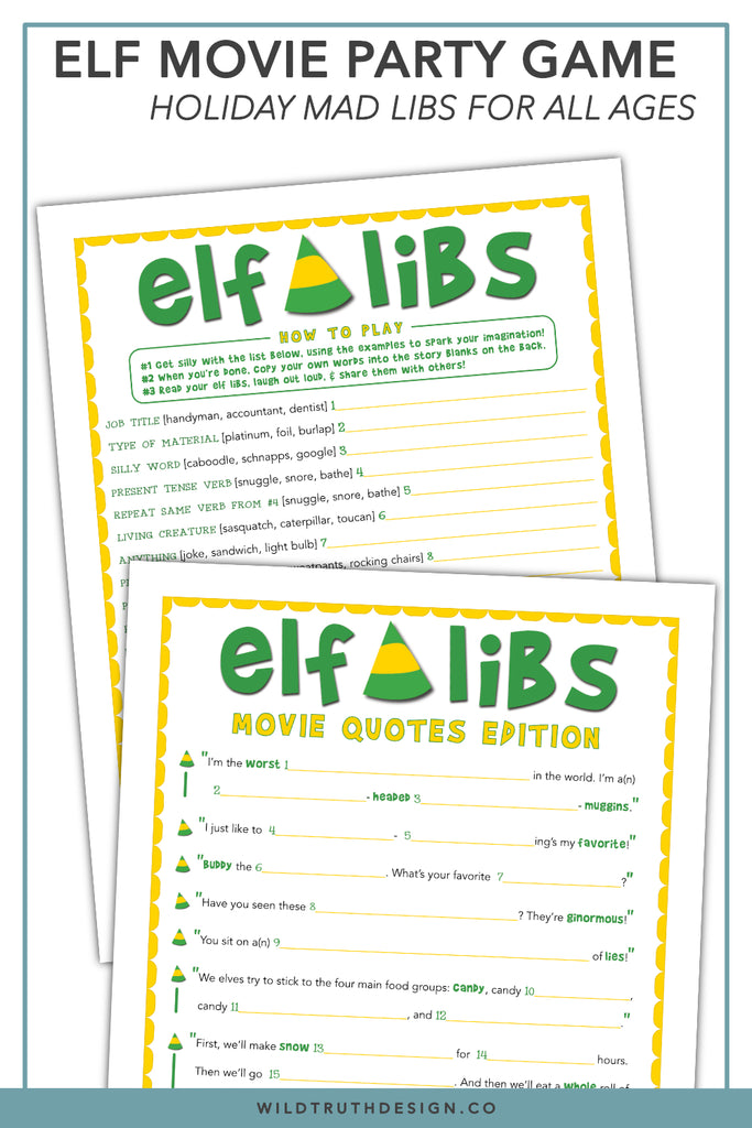 Buddy The Elf Mad Libs - Christmas Movie Party Game - Printable [#C100] -  Wild Truth Design Co