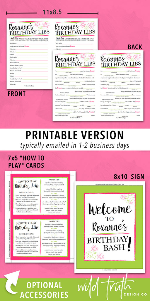 image about Birthday Mad Libs Printable called Custom-made Birthday Video game For Older people - Outrageous Lib Printable #104A