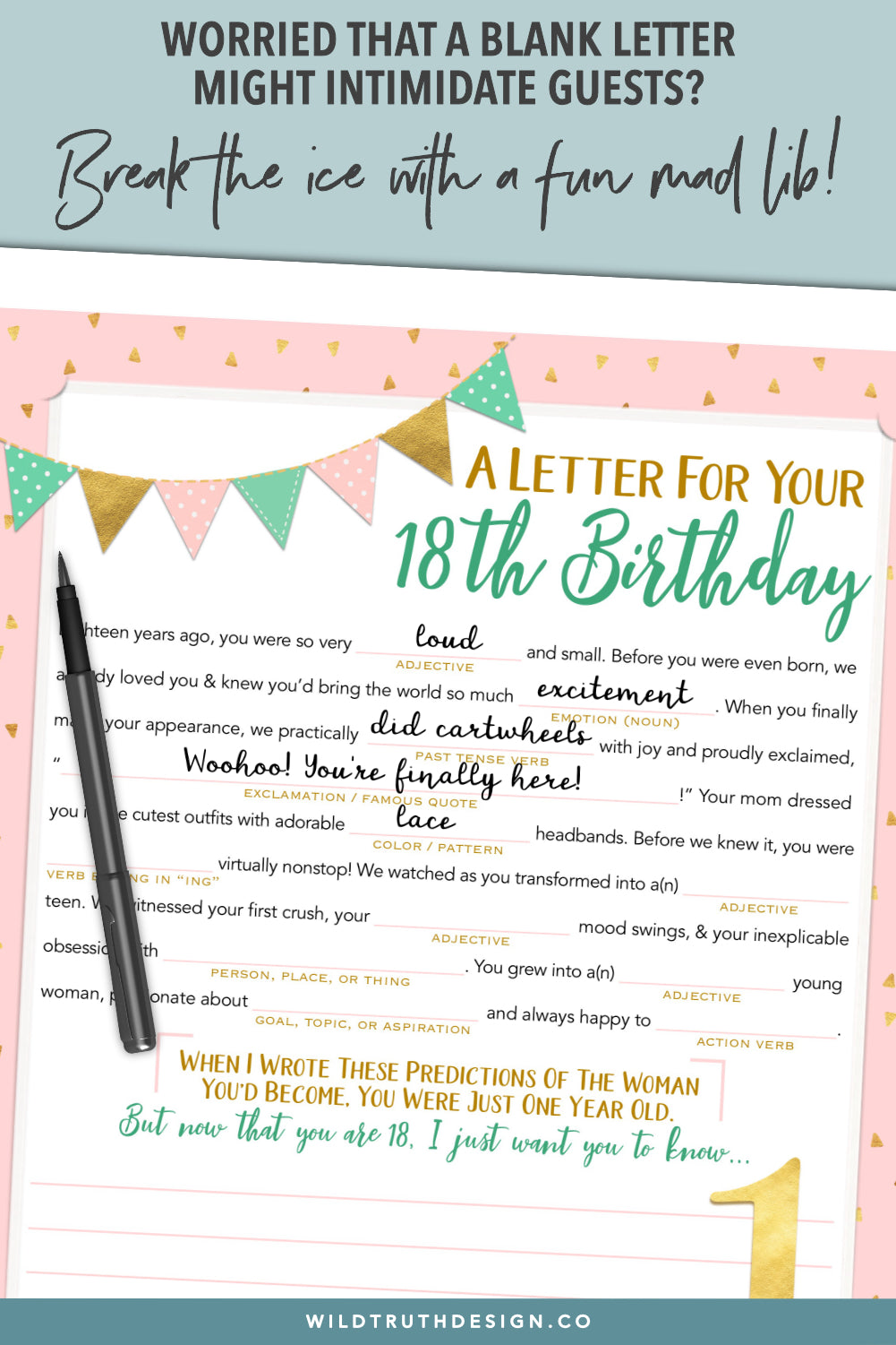 first birthday letters to daughter mad lib