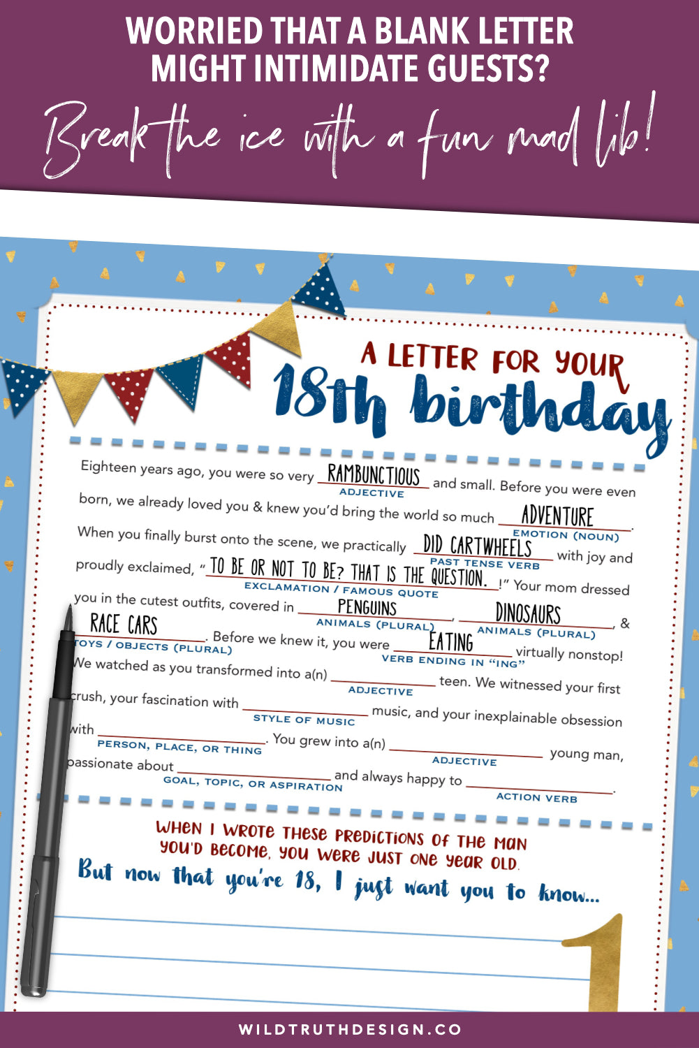boy s first birthday time capsule letter mad lib printable download