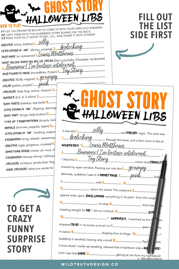 picture about Printable Funny Mad Libs called Printable Insane Libs Halloween Tale For Children, Tweens, Youngsters - Ghost Tale [#H106] - Wild Truth of the matter Style Co