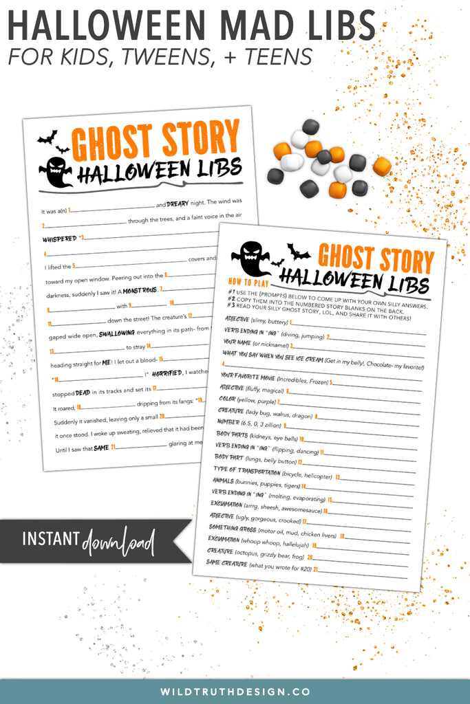 graphic regarding Madlibs Printable called Printable Crazy Libs Halloween Tale For Young children, Tweens, Adolescents - Ghost Tale [#H106] - Wild Reality Design and style Co