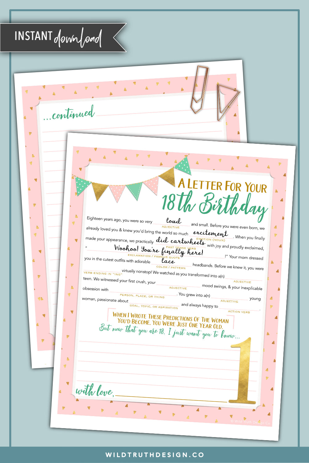Girls First Birthday Time Capsule Letter Mad Lib