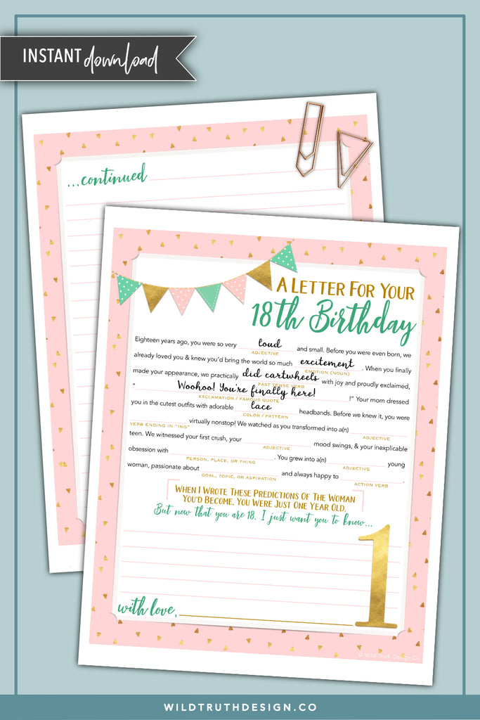 photograph relating to Time Capsule Printable identified as Ladies Very first Birthday Season Capsule Letter - Printable Crazy Lib [Obtain #TC500] - Wild Truth of the matter Layout Co