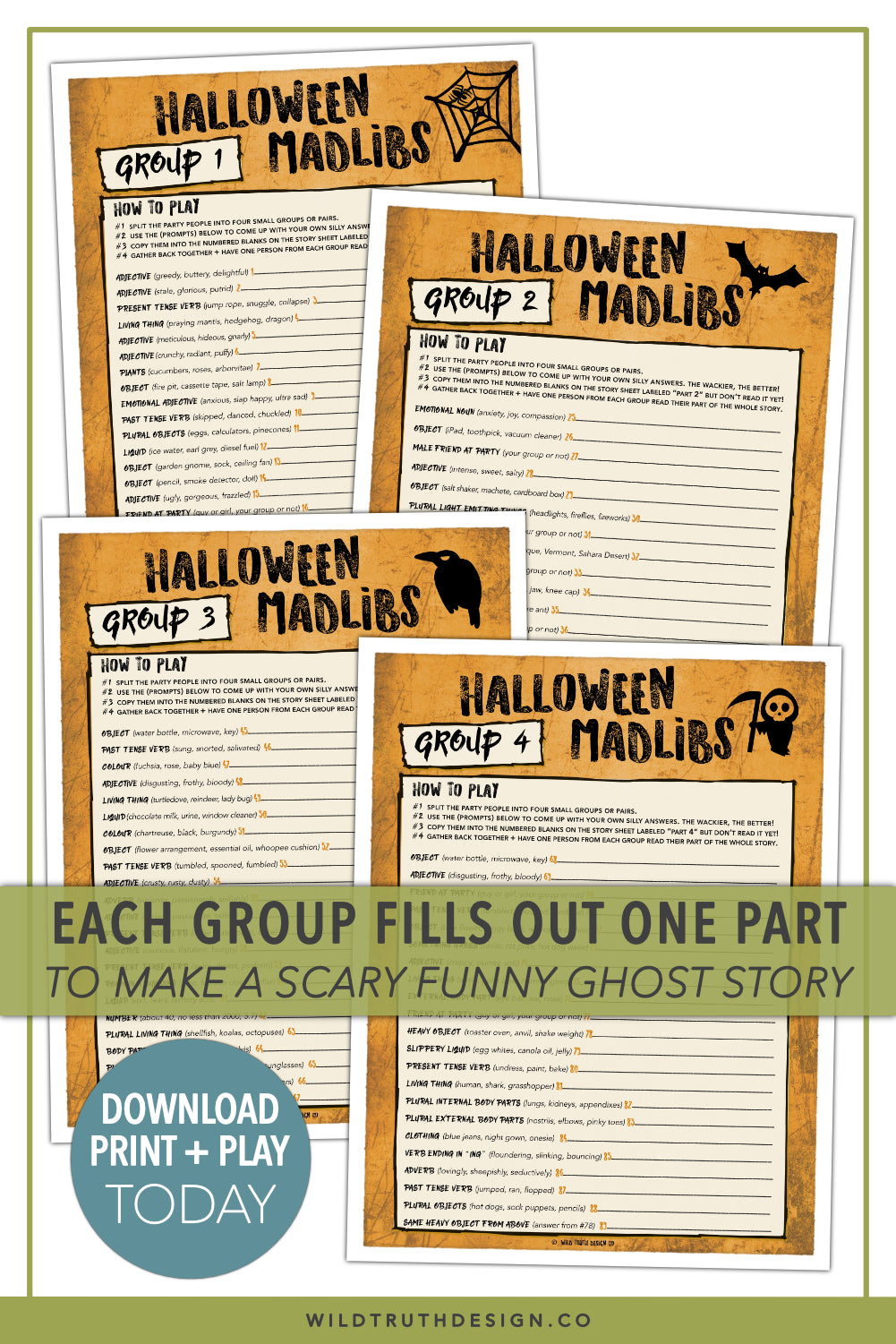 scary fun halloween mad libs party game for adults & teens