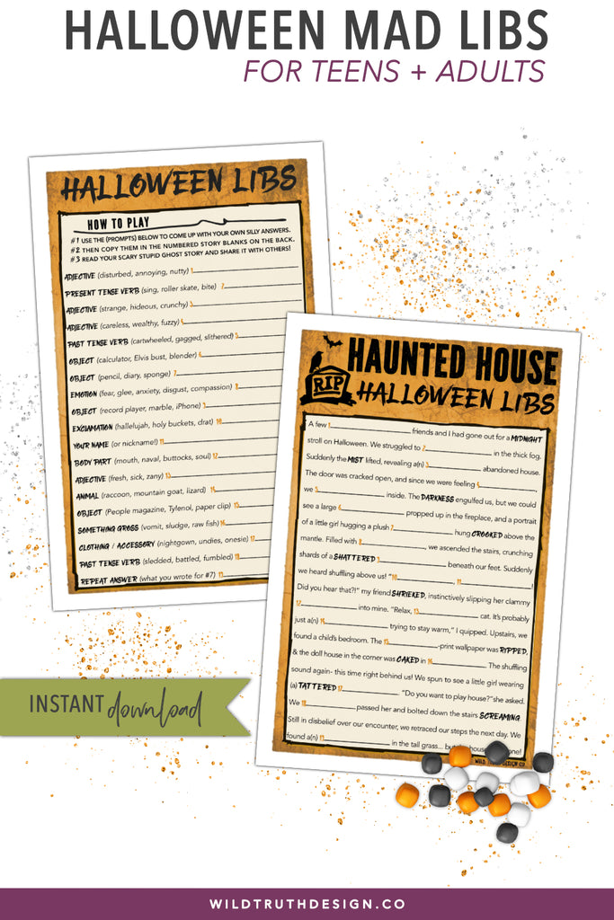 photograph relating to Adult Mad Libs Printable named Hilarious Halloween Crazy Libs Sport - Grown ups Youngsters - Haunted Household Tale - Printable [#H109] - Wild Real truth Structure Co