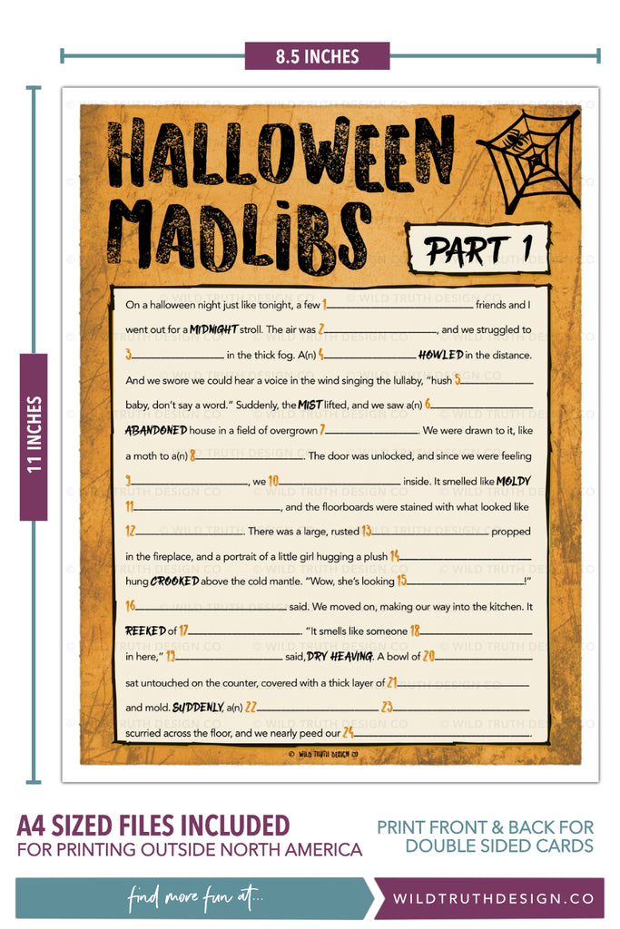 picture relating to Halloween Mad Libs Printable Free identify Printable Halloween Nuts Libs Get together Sport For Older people Adolescents [#H100] - Wild Reality Style Co