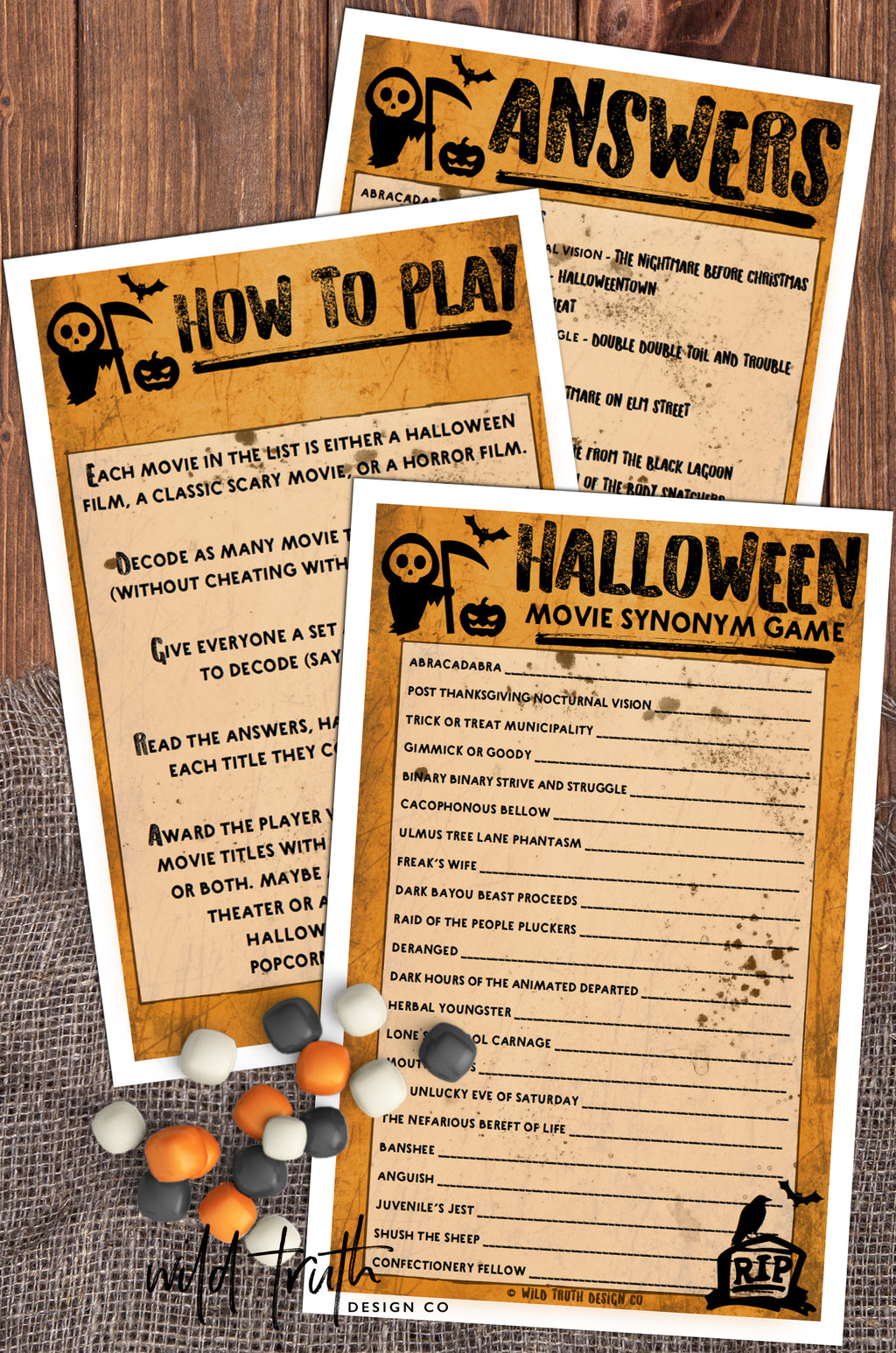 halloween movie game for adults