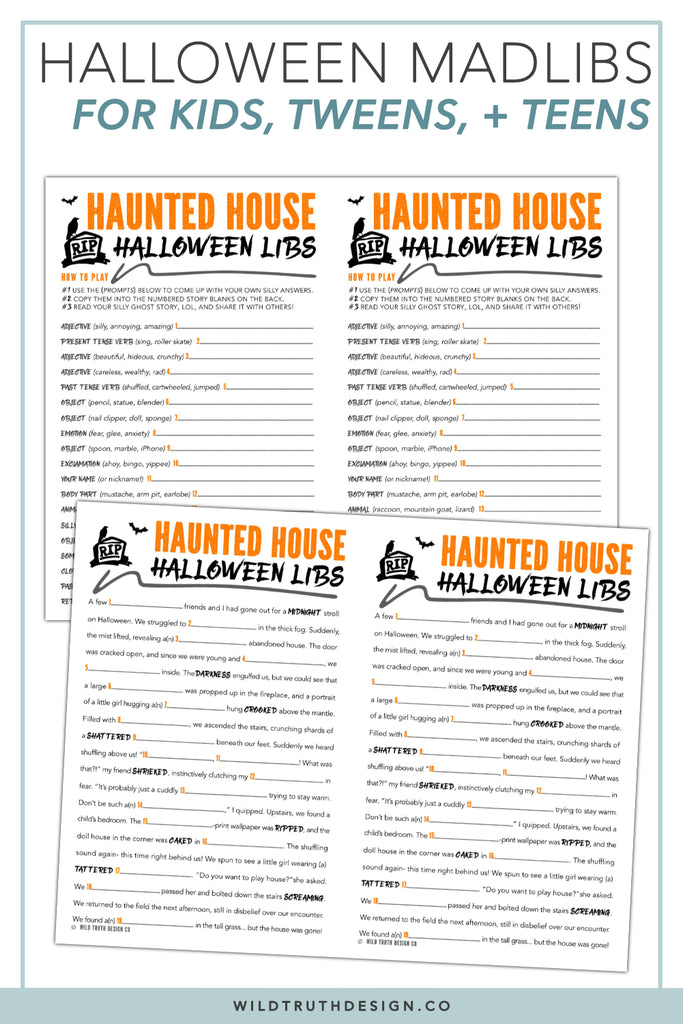 photograph regarding Mad Libs for Kids Printable referred to as Spooky Halloween Insane Libs Printable - Young children, Tweens, Young adults - Haunted Dwelling [#H107] - Wild Truth of the matter Style and design Co